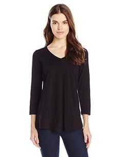 ModODoc Womens Seamed VNeck Pullover Black XSmall * You can find out more details at the link of the image.