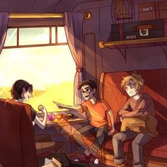 The Marauders on their way to Hogwarts!! I'm glad viria left out Peter, he's a betrayal. That rat. >:(