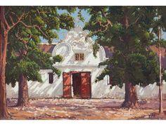 Jacob Hendrik Pierneef; Wynkelder by Du Toits Plaas, Krommerivier, Stellenbosch South African Artists, Fine Art Auctions, Antique Paint, Landscape Art, Art And Architecture, Art Pictures, Modern Art, Sculptures, City Scapes