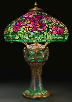 "Tiffany Studios, New York, Favrile Leaded Glass and Patinated Bronze ""Peony"" Lamp."