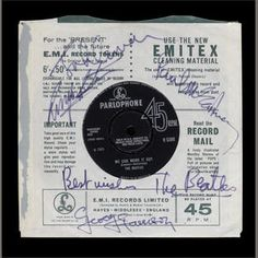 A rare autographed copy of 'Day Tripper'/'We Can Work It Out', with a related taped interview with the Beatles, 1965, Sold for £13,750 inc. premium