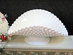 Vintage Fenton White Milk Glass Hobnail Banana Bowl Dish. Click on the image for more information.