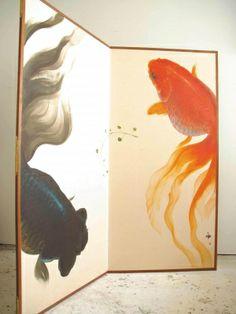 深堀隆介/屏風-金魚の間 kingyo no ma  1730×1710mm 2005-2010年  屏風、アクリル絵具。