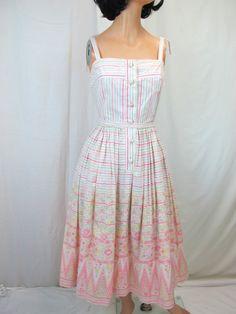 1950s English Cotton Sun Dress by tovasvintage on Etsy