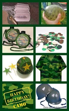 Camo Birthday Part Kit for 8 based on this inspiration board available from www.littlebirdcelebrations.com