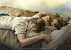 Sleep warm by *vongue on deviantART. Sam Winchester. This hits me right in the feels. He always wanted a dog.