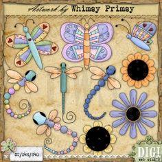 Butterflies-Dragonflies-Flowers 2 - Exclusive Clip Art