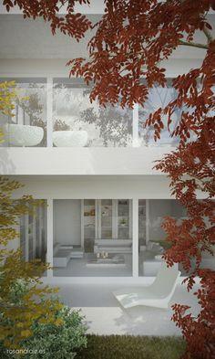 Infografía de arquitectura - contraste entre el blanco de la vivienda y el colorido de la vegetación. www.rosanalaiz.es