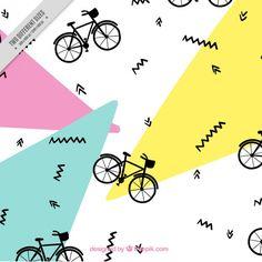 Patrón de bicicleta en estilo memphis Vector Gratis