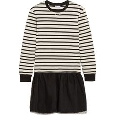 REDValentino Striped jersey and point d'esprit tulle mini dress (£177) ❤ liked on Polyvore featuring dresses, clothes - dress, black, drop-waist dresses, striped jersey dress, tulle cocktail dresses, striped jersey and jersey cocktail dress