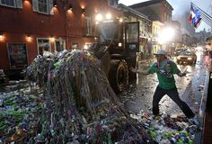 clean up after Mardi Gras Parade