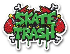SKATE TRASH sticker (Skate Trash is a game for the iOS, iPad, mobile device) with artwork throughout the entire game created by artist Jimbo Phillips, famous for his incredibly extensive line. Ios Video, Video Game, Graphic Illustration, Illustrations, Jdm Wallpaper, Skate Art, Skate Decks, Artwork Ideas, New Sticker