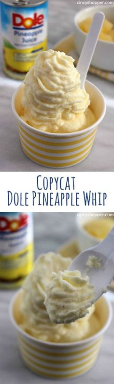 CopyCat Dole Pineapple Whip- No Disney trip is needed to enjoy a dish of this yummy pineapple flavored non-dairy frozen treat. Just a few ingredients are needed. (Non Baking Desserts) Frozen Desserts, Just Desserts, Delicious Desserts, Yummy Food, Frozen Treats, Baking Desserts, Frozen Fruit Cups, Non Bake Desserts, Cool Whip Desserts