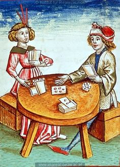Wonder what thye were playing?! A card game, Schachzabelbuch 1479:  #diet and fitness,#sports