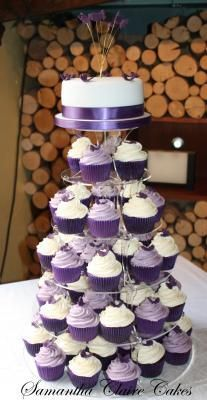 Perfect purple cupcake tower, great for wedding shower or small purple wedding. Purple Wedding Cupcakes, Blue Velvet Cupcakes, Purple Party, Cupcake Wedding, Purple Wedding Decorations, Purple Birthday, White Cupcakes, Fall Wedding, Our Wedding
