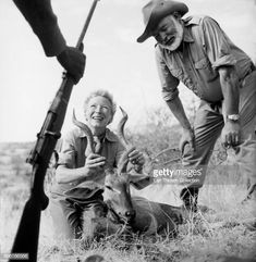Author Ernest Hemingway and his wife Mary pose for a photo with a trophy while on a big game hunt in September 1952 in Kenya Earnest Hemingway, Out Of Africa, American Literature, Nobel Prize, Driftwood Art, Us History, Historical Pictures, The Real World, Short Stories