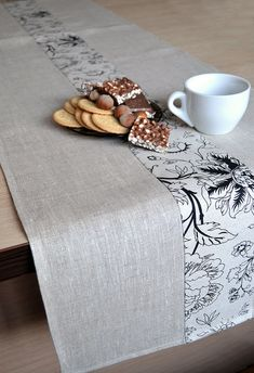 Linen Runner Natural Table Runner Tan Table Decor Gray / White With Print Table  Runner Black