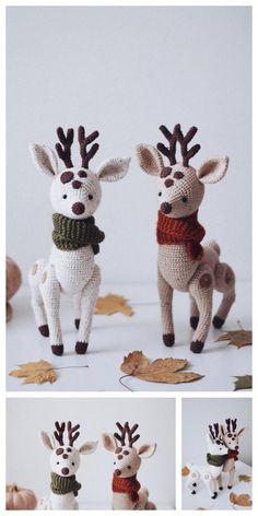 Crochet Teddy Bear With Free Patterns - Diy & Crafts Crochet Christmas Ornaments, Christmas Crochet Patterns, Holiday Crochet, Crochet Animal Patterns, Stuffed Animal Patterns, Crochet Patterns Amigurumi, Crochet Dolls, Crochet Deer, Cute Crochet