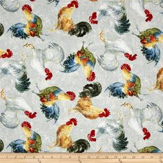 Early to Rise Roosters Allover Grey from @fabricdotcom  Designed by Danhui Nai for Wilmington, this cotton print fabric features roosters mingling while the chickens keep eggs warm. Perfect for quilting, apparel and home decor accents. Colors include white, grey, cream, tan, brown, yellow, orange, burnt orange, shades of blue and red, green, dark green, black and taupe.