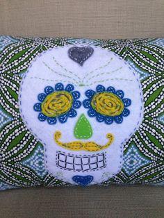 Hand Stitched Sugar Skull Pillow by AvaandLili on Etsy, $45.00.
