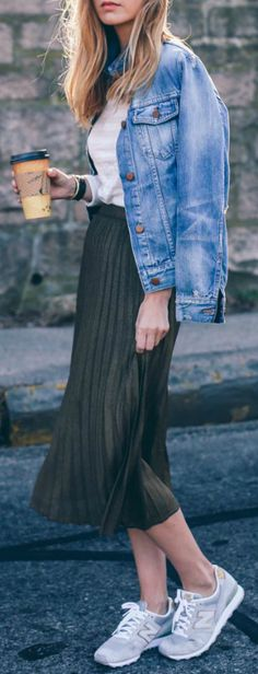 Pleated skirt + denim + Jess Ann Kirby + bottle green skirt  + faded denim jacket + Jess + degree of casual retro chic   Skirt/Tee: Reiss, Jacket: Madewell, Sneakers: New Balance.