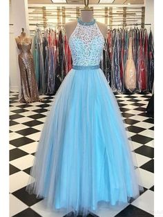 Halter Lace Bodice A Line Long Tulle  Prom Dresses Evening Dresses #SIMIBridal #promdresses