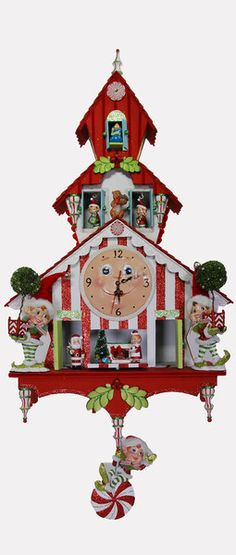 """Katherine's Collection Cuckoo Christmas Large Approx 44"""" Cuckoo Christmas Clock Free Ship Check out our new web site www.collectibledollsales.com Free Shipping 10% Off through 9-30-14!"""