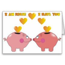 Funny Cartoon Pigs in Love Greeting Card