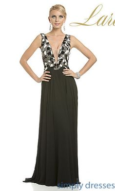 Long Deep V-Neck Formal Gown 32532 by Lara Designs at SimplyDresses.com