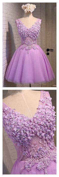 v-neck homecoming dresses, applique short prom dresses, cute party dresses, graduation dresses #SIMIBridal