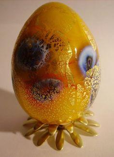 FL-U101-6  Eine Eier aus  Murano Glas mit Millefiori