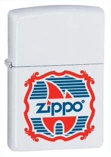 Vintage Logo Zippo lighter now available from Zippo UK now only £17.50 White Matte. Packaged in an environmentally friendly gift box. Lifetime Guarantee.