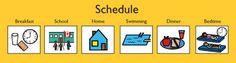 photo of schedule with boardmaker pics of  breakfast, school, home, swimming, dinner, bedtime
