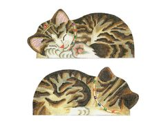 "Tabby princess kitten needlepoint canvas front and back 7 1/4"" w 18 mesh $76.00"