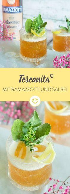 Die ganze Toskana in einem Drink? Na klar! Zitrone, Salbei, Thymian und lieblicher Ramazzotti machen diesen kräutrigen Aperifif zu etwas ganz Besonderem.