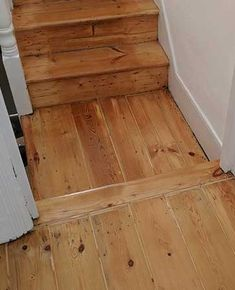 Restored old original wooden flooring. The gaps have been filled with a flexible filler. Refurbished by Fin Wood. Pine Wood Flooring, Pine Floors, Hardwood Floors, Wood Floor Restoration, Stairs Cladding, Wooden Stairs, The Originals, Landing, Rv