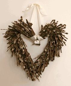 Pussy Willow Heart Wreath- i could totally make this! Rustic Style, Rustic Decor, Lilac Room, Stick Wreath, Twig Art, Family Room Addition, Save On Crafts, Wedding Wreaths, Heart Wreath