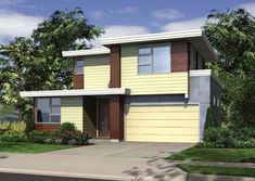 Efficient Contemporary Home  An economical use of space and a truly singular design make this three-bedroom home the most distinctive property on nearly any block. House Plan No. 324712
