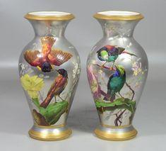 Pr platinum ground & gilt enameled bird decorated N Vivien porcelain vases, unmarked bases drilled for purpose of lamp conversion, probably Lebeuf & C Porcelain Jewelry, Fine Porcelain, Porcelain Ceramics, Ceramic Vase, Painted Porcelain, Porcelain Insulator, Vases Decor, Glass Art, Japan