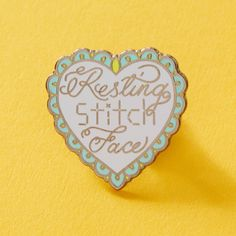 Resting Stitch Face hard enamel pin. Measures approx 30mm Part of our Crafty Bitch Collection
