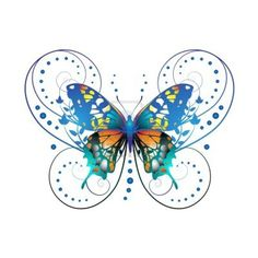 Stylized butterfly with twigs curls isolated on white background