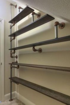 Inspiration for laudry room shelves: Iron Pipe Shoe Rack Regal Industrial, Industrial House, Industrial Pipe, Industrial Storage, Vintage Industrial, Diy Pipe Shelves, Pipe Shelving, Shoe Shelves, Wooden Shelves