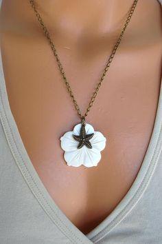 Starfish Necklace SEA FLOWER Mermaid Jewelry by AJBcreations