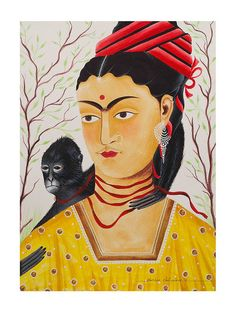 """Limited EditionKalighat Pattachitra """"Kali-Kahlo 2"""" Digital Print on Paper - 8.5in x 11.5in"""