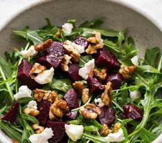 EASY healthy, Arugula Salad with Beets, Goat Cheese, and Walnuts! Beet And Goat Cheese, Goat Cheese Recipes, Goat Cheese Salad, Goat Recipes, Beet Salad, Arugula Salad, Cobb Salad, Mini Burgers, Recipe 21