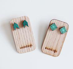 geometric+post+earrings+aqua+seagreen+by+uncommon+on+Etsy,+$10.00