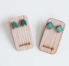 geometric+post+earrings+aqua+seagreen+by+uncommon+on+Etsy,+$10.00