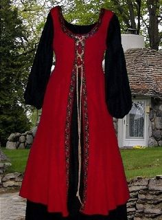 SCA Garb Renaissance Medieval Costume Blood Red Over Black Surcote and Chemise