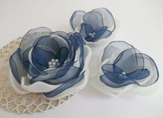 Cream Ivory and Navy Blue flower in handmade, Bridal hair dress shoe accessory, Something Blue, Hair Shoe clip, brooch