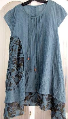Art to wear lagenlook A line shift/tunic top, Sz L #Line